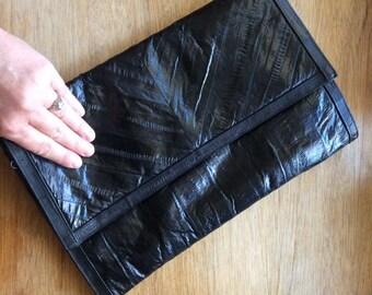 SALE-Navy Blue Eel Skin Clutch-Vintage Hand Bag