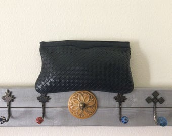 SALE-Vintage Navy 70s Leather Clutch-Leather Cross Woven Handbag with Strap-Blue Leather Purse