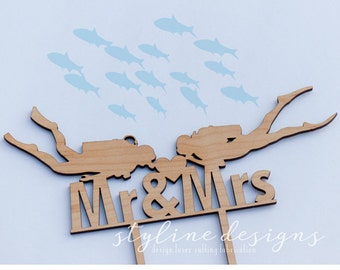 Mr and Mrs Scuba Diving Cake Topper - Couple Event Cake Topper - Laser Cut and Etched on Wood