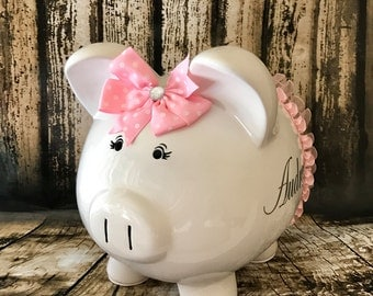 extra large pink polka dot piggy bank girl bank birthday banks custom