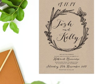 Kraft Vintage Flora Wreath Wedding Invitations Hand Drawn Sketch Wedding Invites Illustrated Fauna Script Calligraphy Simplistic