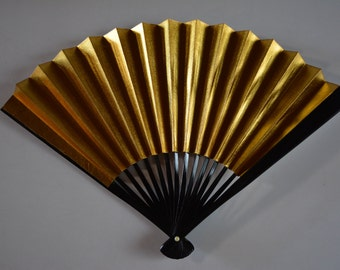 Hand fan,silver/gold, small, vintage Japanese sensu #4