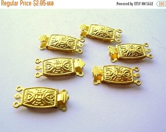 Christmas Sale Ornate Brass Clasp - Three Strand - Brass Findings