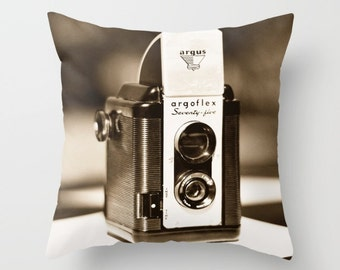 Throw Pillow Cover | Accent Pillow | Vintage Argus Camera  | Photographer Gift | Decorative Pillow | Home Decor | Black & White Sofa Pillow