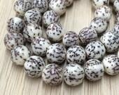 Natural Salwag Nut Beads, White, 10mm Round - 15.5 inch Strand - eS909-10