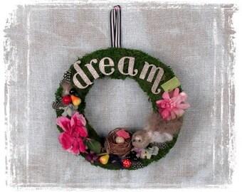 Moss Wreath, Woodland Wreath, Vintage Silk Flowers, Glitter Bird, Bird Nest, Cottage Home Decor, Dream, Paper Ephemera