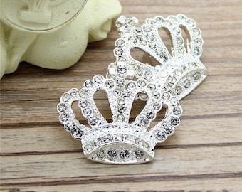 2 pcs 1.10 inch White Silver Crown Rhinestone Decorative Metal Shank Buttons