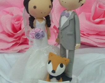 Wedding Cake topper pastel purple pink wedding theme clay doll, bride in strapless mermaid wedding gown clay miniature,corgi dog clay figure