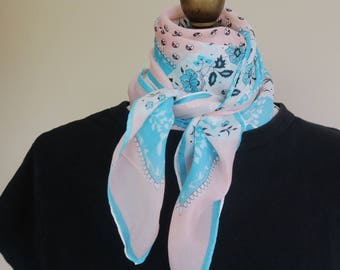1940s silk scarf, pink blue scarf, delicate silk scarf, square silk scarf, 40s fashion, hand rolled, forties silk scarf, pinup scarf,