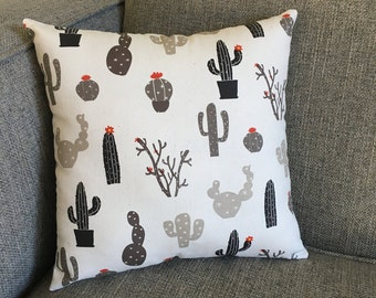 Cactus Pillow in Beige and Dark Gray with Gray Chevron Backing