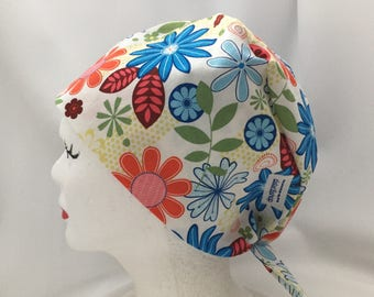 Scrub Hat Tie Back Pixie Style Floral Fabric