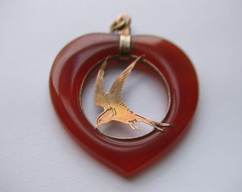 Vintage Carnelian Colored Stone Heart with Metal Bird