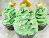 Sale...O CHRISTMAS TREE goat milk soap/cupcake soap/handmade soap/cold process/soap cupcake/soap favor/wholesale soap/gentle soap/Christmas