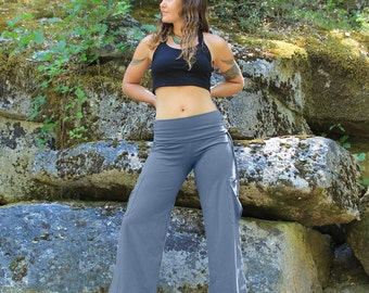 Yoga Cargo Pants-Womens clothing-yoga pants-womens pants-gray pants-womens trousers-cotton yoga pants-loose fit yoga-festival clothing-edgy