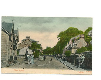 very old Scottish postcard of the Main Road, Fairlie, Scotland, 1909