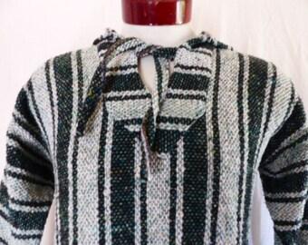vintage 80's 90's black white teal green vertical stripe baja hoodie sweatshirt mexican poncho drug rug anorak hippie surfer boho medium