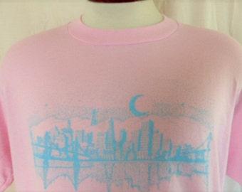 vintage 80's San Francisco California travel souvenir graphic t-shirt pastel light blue golden gate skyline moon print crew neck tee XL