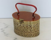 vintage 1950s metal and lucite box purse