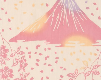 Mt Fuji and Cherry Blossoms Design Hand Dyed High Quality Tenugui Towel Made in Japan