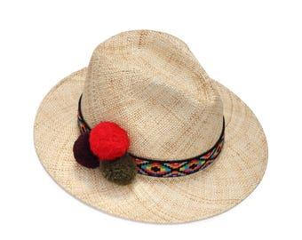 Ethnic Straw Fedora Hat With Pompom , Mens Fedora , Straw Hat , Straw Hat For Women , Women Summer Hats , Sun hat