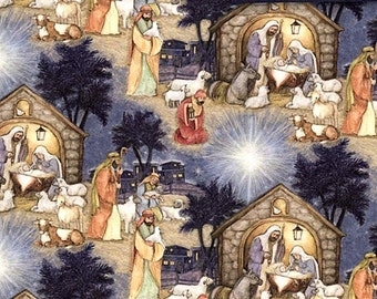 Fat Quarter Blessed Birth Christmas Nativity Scene 100% Cotton Quilting Fabric
