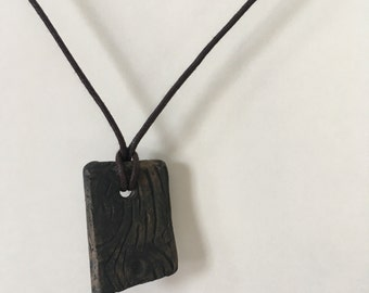 Handmade Ceramic Wood Grain Pendant / Faux Bois Clay Necklace