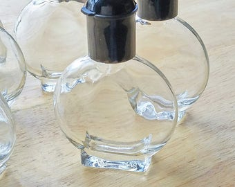 DESTASH  -  Vintage Style Clear Glass Roll-On Perfume Bottle with Black Top (sold in lots of 6)