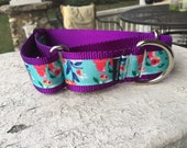 "Laverne's Poppies on Purple -  1.5"" Martingale Collar"