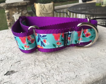 """Laverne's Poppies on Purple -  1.5"""" Martingale Collar"""