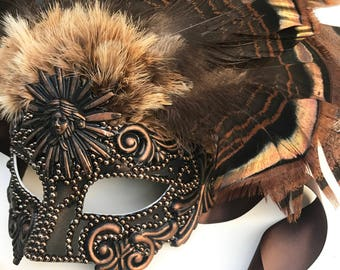 Pearled Swirls Native American Inspired Masquerade Mask