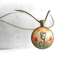Unique Personalized Pendant Necklace, Letter G Charm Chain Necklace, Hand Painted Pendant, Original Painting Jewelry, Handcrafted by Artdora