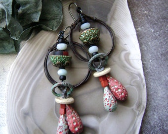handmade mixed media assemblage earrings with polymer headpins, rustic unique, beaded hoop earrings, black turquoise red, Anvil Artifacts