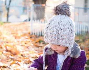 Ear Flap Hat // Baby Beanie // Baby // Toddler // Child // Adult // Pom Pom // Knit Beanie // Tie Hat // Toasty // Cozy