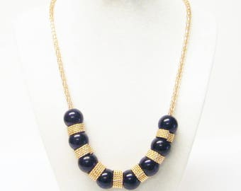 Round Black Acrylic Bead w/Twisted Gold Plated Rings Necklace & Earrings