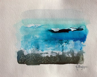 "Original mixed media painting, watercolor/acrylic/ink art, ocean,water, beach painting on 9"" x 12"" watercolor paper. Beach decor."