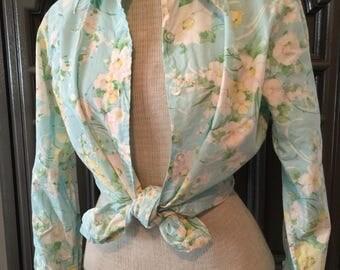 60s Robins Blue Floral cotton shirt