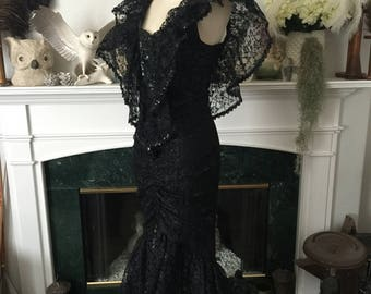 Witchy Woman 80s Black Lace Sequined wiggle Mermaid Dress