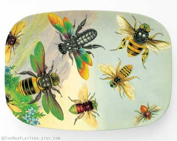 Bees, insects melamine platter