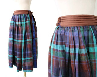 1980 Escada Linen Checked Skirt XS euro34 /80s linen skirt
