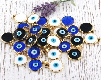 White, Turkish Evil Eye Pendant, Good Luck Pendant, Shiny Gold Plated Open Bezel Setting, 1 piece // GP-474