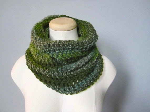 Crochet Olive Green, Grass Green, Forest Green, Gray, Light Blue, Striped Scarf, Cowl, Neck Warmer, Men's Scarf, Women's Scarf, Unisex Scarf