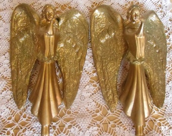 Vintage Ornaments - Two Large Gold Angels, Molded Hard Plastic, Wall Display, Valentines Day, Christening, Baptism, Christmas