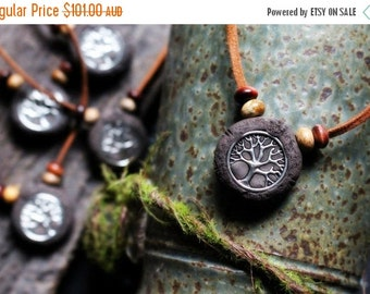 30% OFF December Only Shaman's Tree Necklace - Unisex Necklace - On Leather - Earthy Rustic Jewelry - Men & Women - Hand Sculpted Clay