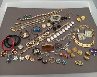 Vintage Lot of Mixed Jewelry, Rhinestones, Gold-tone, Silver-tone, etc.