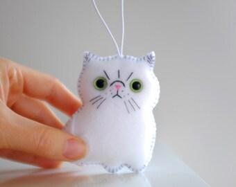White Persian cat ornament bag charm
