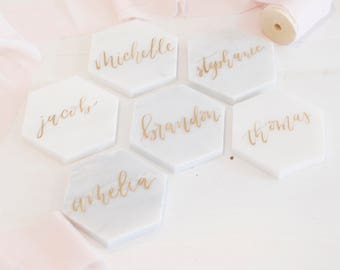 Marble wedding calligraphy place card favor - gold modern wedding calligraphy wedding reception stationery hexagon geometric escort cards
