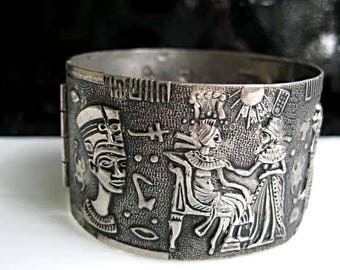 Egyptian Pharaoh Silver Bracelet, Nefertiti, Raised Figural Tomb Images, Hieroglyphs, Extra Wide Hinged Cuff, Oxidized Dark Metal