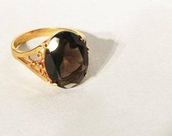 Vintage Smoky Topaz Ring Chocolate Brown Stone size 8