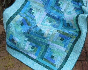 Quilt - Lap Quilt, Sofa Quilt, Quilted Throw - Sea View Log Cabin - Teal Blue and Green Log Cabin Batik Quilt