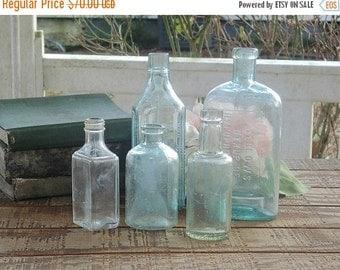 On Sale Handblown Sea Glass Blue Bottles, Set of 5, Beach Cottage, Seamed Sides, Aqua, Antique, Soda Bottles Diffuser Bottles Collection 2